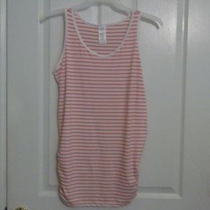 NEW TIME AND TRU MATERNITY CORAL WHITE STRIPE TOP